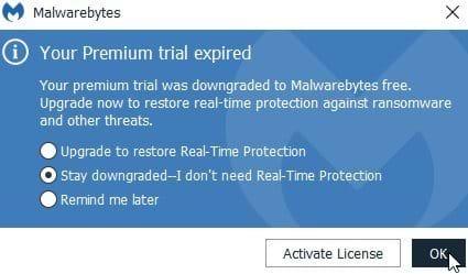 Disable MBAM Premium Trial Popups